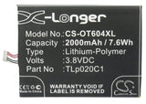 Battery for Alcatel 6039S-2AALUS7 CAC2000012C2, TLp020C1, TLp020C2 3.8V Li-Polym
