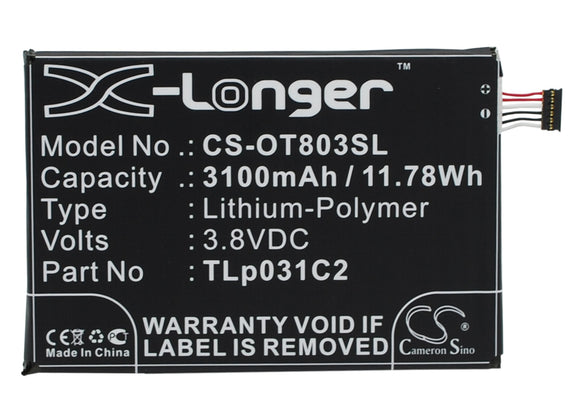 Battery for Alcatel One Touch M812C TLP031C1, TLp031C2 3.8V Li-Polymer 3100mAh /