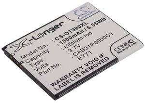 Battery for Alcatel One Touch 985 BY71, CAB31P0000C1, CAB31P0001C1, TB-4T0058200
