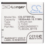 Battery for Alcatel One Touch 992 BY78, CAB32A0000C1, CAB32A0000C2, TLiB32A 3.7V