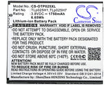 Battery for Alcatel One Touch POP 4 LTE TLp025H1, TLp025H7 3.8V Li-ion 1750mAh /