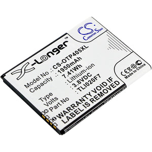 Battery for Alcatel One Touch Pixi 4 (5) TLI020F7 3.8V Li-ion 1950mAh / 7.41Wh