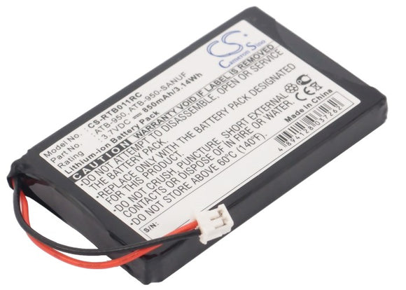 Battery for RTI TheaterTouch 40-210154-17, ATB-950, ATB-950-SANUF 3.7V Li-ion 85