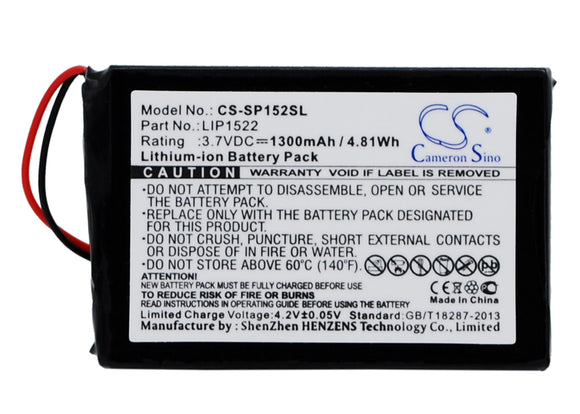 Battery for Sony CUH-ZCT1H LIP1522 3.7V Li-ion 1300mAh / 4.81Wh