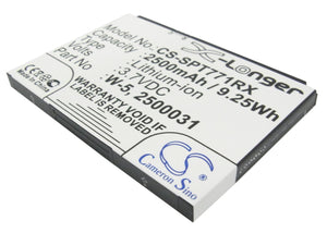 Battery for AT&T UNITE-344B 2500031, 2500060, W-5 3.7V Li-ion 2500mAh / 9.25Wh