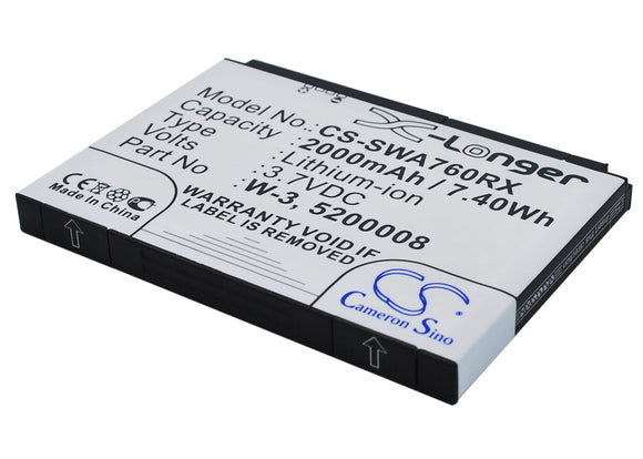 Battery for Sierra Wireless Aircard 785s 5200008, W-3 3.7V Li-ion 2000mAh / 7.40