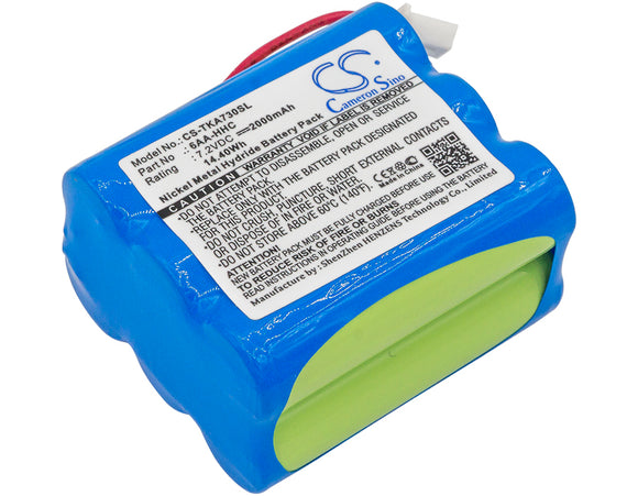 Battery for TDK Life on Record A73 6AA-HHC 7.2V Ni-MH 2000mAh / 14.40Wh