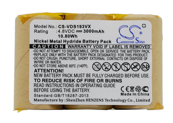 Battery for Vileda AS-193E9A 4.8V Ni-MH 3000mAh / 10.80Wh