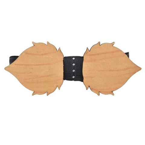 MUSTACHE PATTERNED MAPLE WOOD BOW TIE