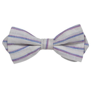 WHITE DIAGONAL STRIPES BOW TIE