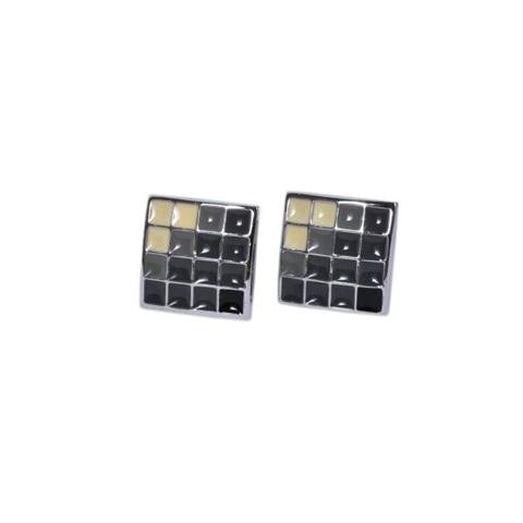 SQUARE MULTICOLOUR CHECKS METAL CUFFLINKS