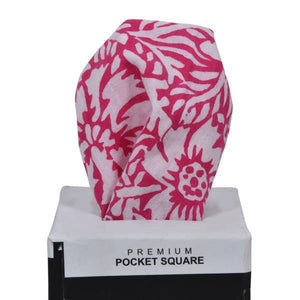 WHITE AND PINK PATTERN POCKET SQUARE