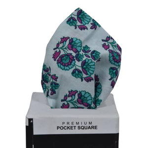 TURKISH BLUE FLORAL PATTERN POCKET SQUARE