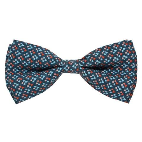BLUE PIN DOTS BOW TIE