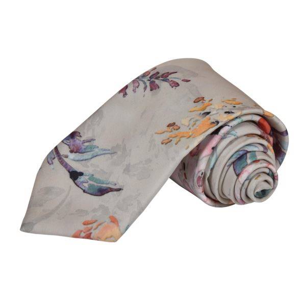 GREY WATERCOLOUR ASIAN FLORAL TIE
