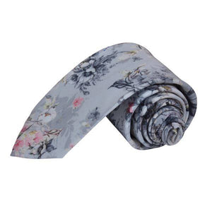 GREY FLOWER FLORAL SKETCH TIE