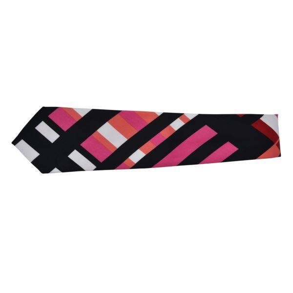 BLACK PINK & WHITE CHUNKY THICK STRIPE TIE