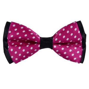 CORAL POLKA DOTS PINK BOW TIE