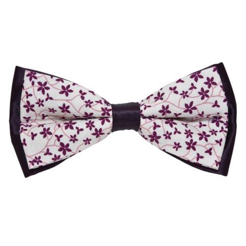 WHITE & PURPLE SUMMER FLORAL BOW TIE