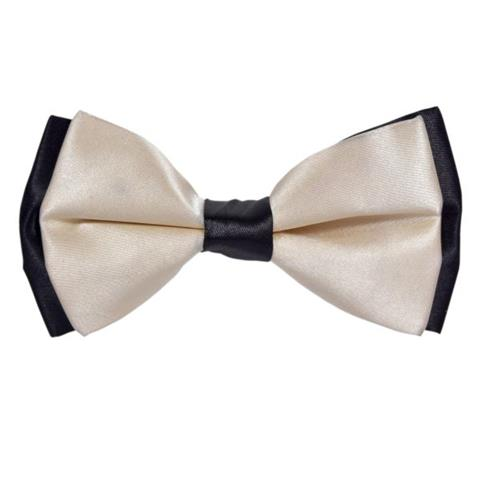 OFF-WHITE FAUX SILK BOW TIE