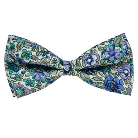 DARK BLUE WATERCOLOUR FLORAL BOW TIE