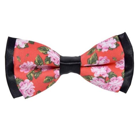 PINK ROSES PINK COTTON BOW TIE
