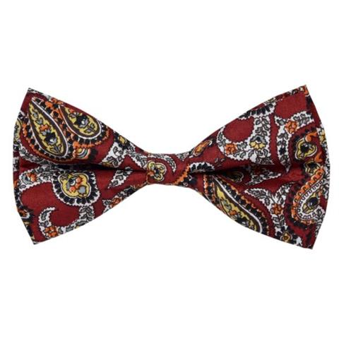 RED TRADITIONAL PAISLEY COTTON BOW TIE