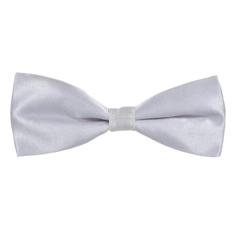 WHITE PLAIN SOLID SATIN SLIM BOW TIE