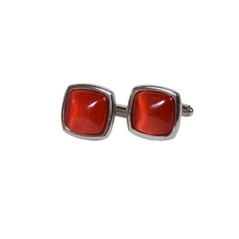 SQUARE RED METAL CUFFLINKS