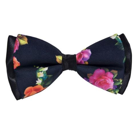 PINK ROSES BLUE COTTON BOW TIE