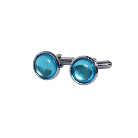 BLUE ROUND BUTTON METAL CUFFLINKS