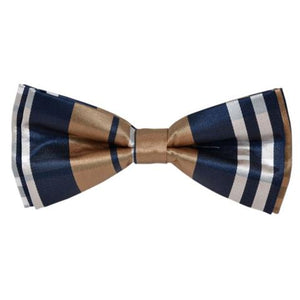 GOLDEN & WHITE FASHION STRIPE BOW TIE