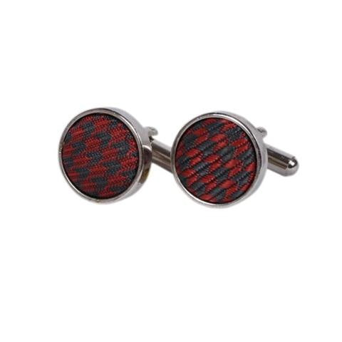 CIRCLE MAROON PATTERN METAL CUFFLINKS