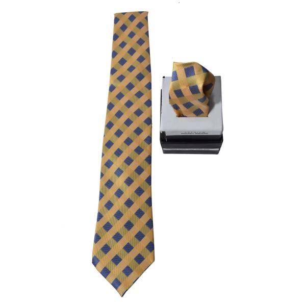 YELLOW AND BLUE ART DECO TIE & POCKET SQUARE