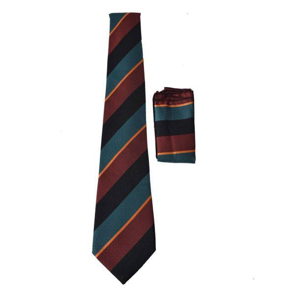 MAROON, BLACK & BLUE CHUNKY THICK STRIPE TIE AND POCKET SQUARE
