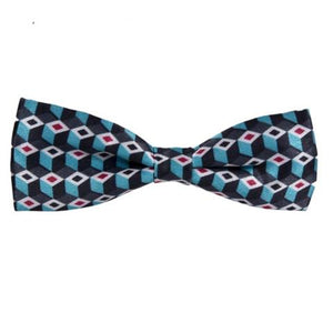 JACQUARD DIAMOND TEAL BLUE MINI BOW TIE