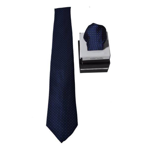 NAVY BLUE PIN DOTS TIE AND POCKET SQUARE
