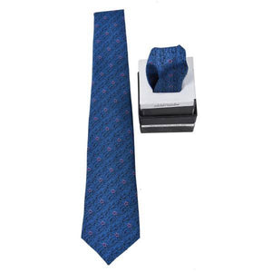 BLUE PATTERNED TIE & POCKET SQUARE