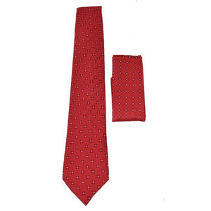 RED DOTTED SATIN TIE & POCKET SQUARE