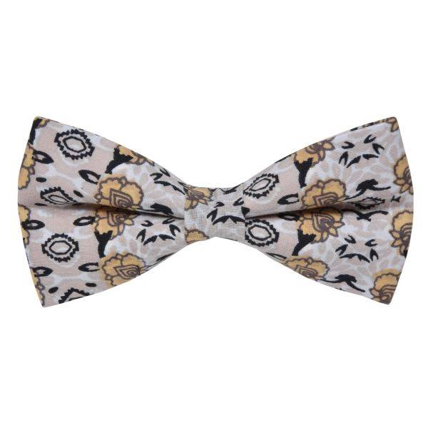 WHITE WITH BLACK COMPOSITE PATTERN BOWTIE