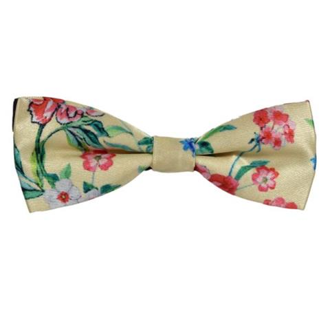 RED ROSES YELLOW COTTON MINI BOW TIE
