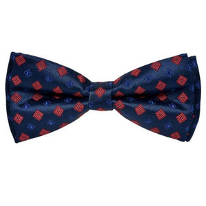 TRADITIONAL PATTERN BLUE SILKY BOW TIE