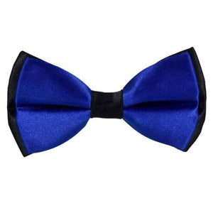 COTTON BLUE SATIN BOW TIE