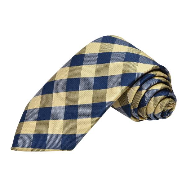 GOLDEN AND BLUE CROSS STRIPE TIE