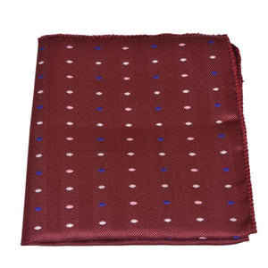 MAROON RED DOTTED PATTERN POCKET SQUARE