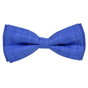 PALE BLUE TEXTURED COTTON LINEN BOW TIE