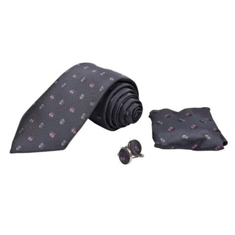 GREY PATTERNED TIE, POCKET SQUARE AND CUFFLINKS GIFT SET