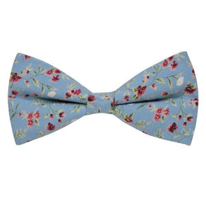 STONE BLUE WITH RED FLORAL BOWTIE