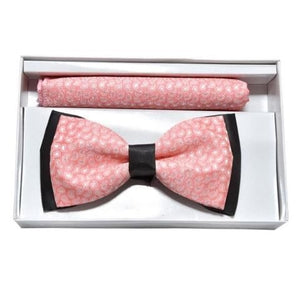PINK PATTERNED BOWTIE & POCKET SQUARE COMBO