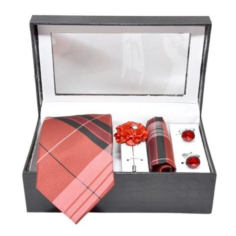 MEN PREMIUM COTTON NECKTIE & POCKET SQUARE WITH CUFFLINK COMBO GIFT SET (RED, FREE SIZE)